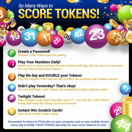 How can I score Tokens on PCHlotto?